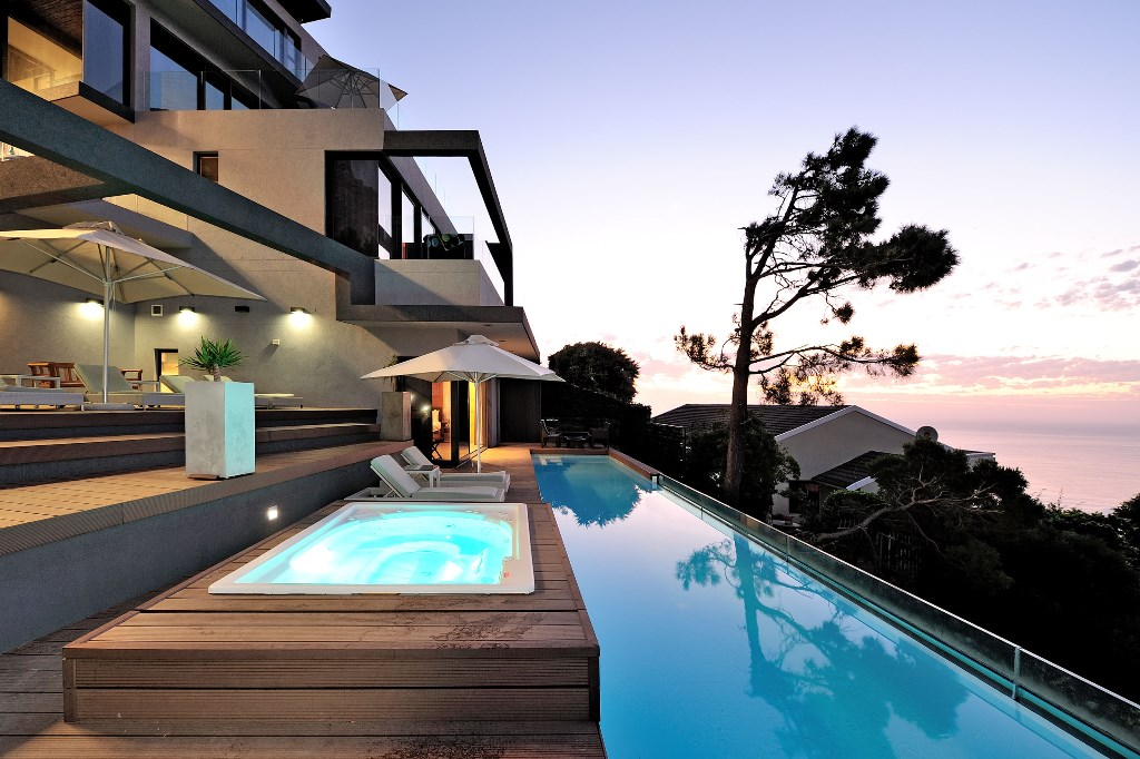 House in Camps Bay - Pool and Jacuzzi blue hour.jpg