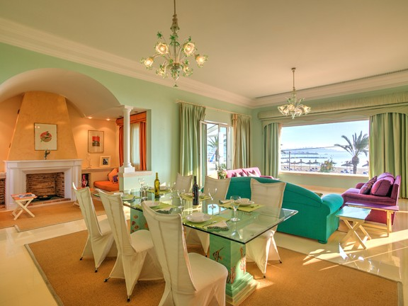 Living room with seaview of a beautiful villa in Puerto Pollensa