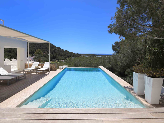Pool area with sea views