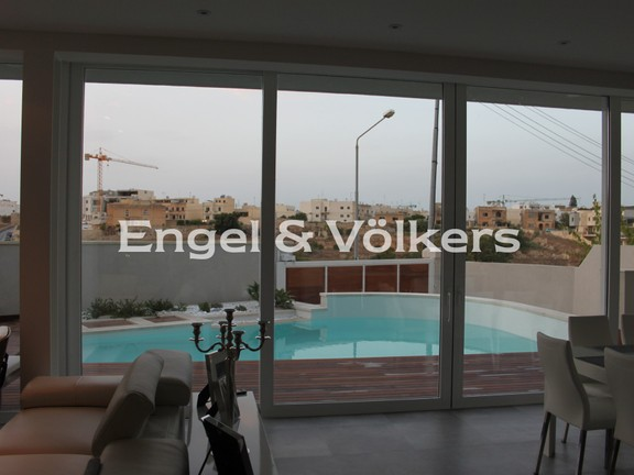 Villa, St Julians, Kitchen/Dining/Living with a swimming pool view