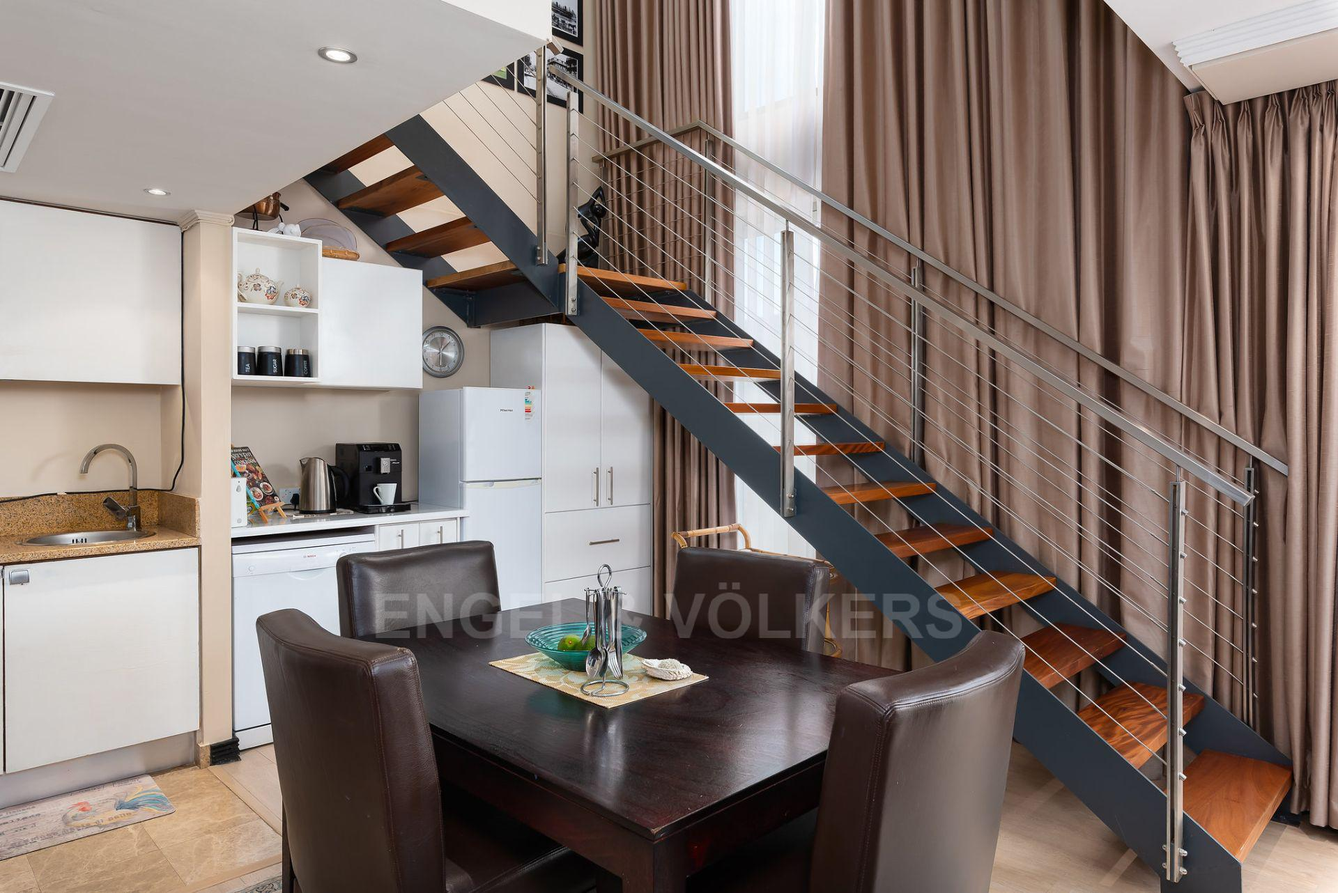 Apartment in City Centre - kitchen plus stairs.jpg