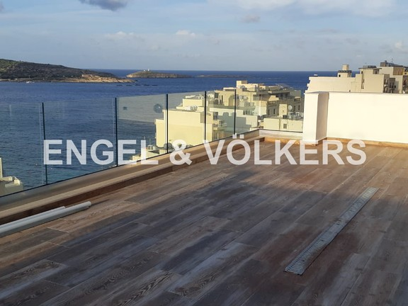 Penthouse, St Pauls Bay, Terrace with Sea View