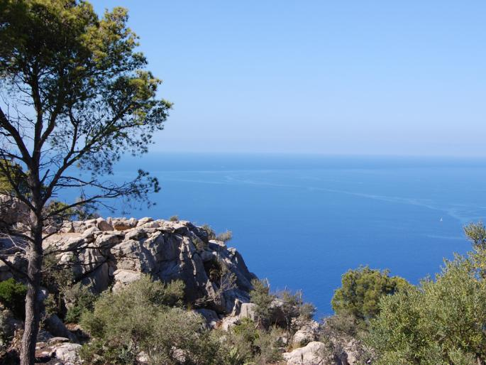 Edge of a rocky cliff in the Tramuntana Mountains, Valldemossa, with a view on the ocean