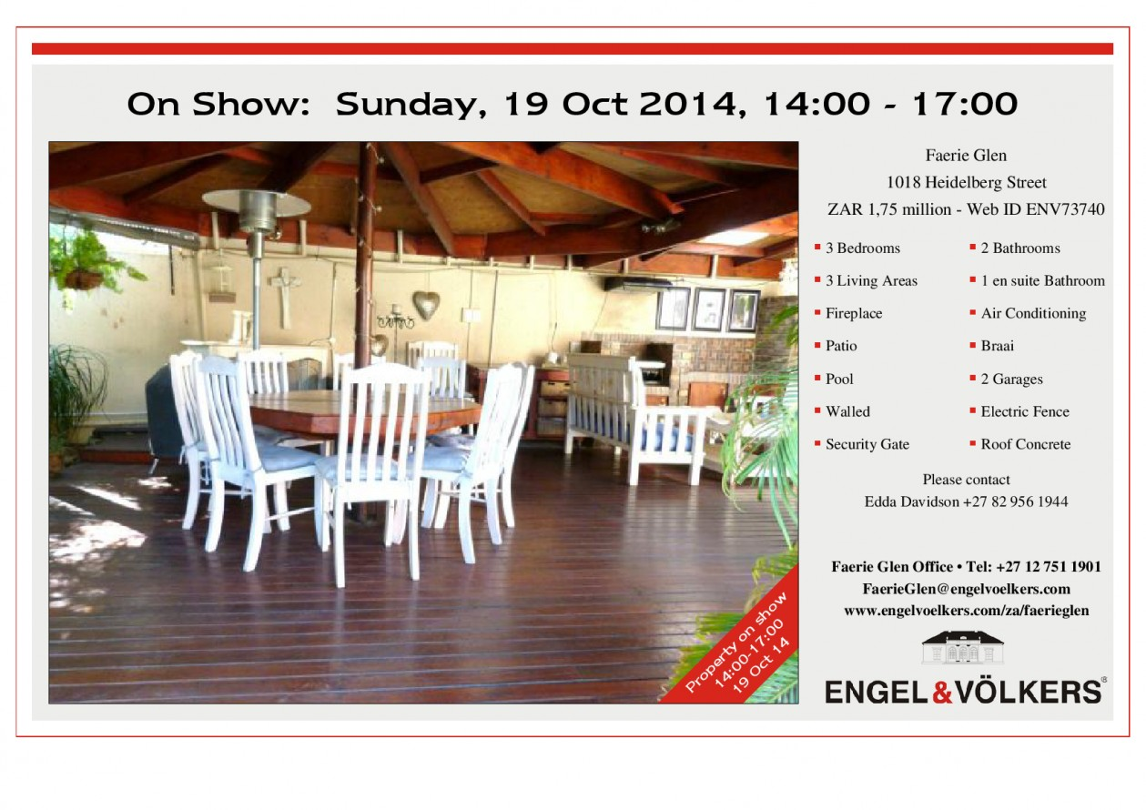 On Show Sunday, 19 Oct 2014, 14h00 - 17h00 in Faerie Glen