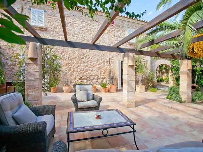 Terrace of a finca in Andratx with comfortable seating