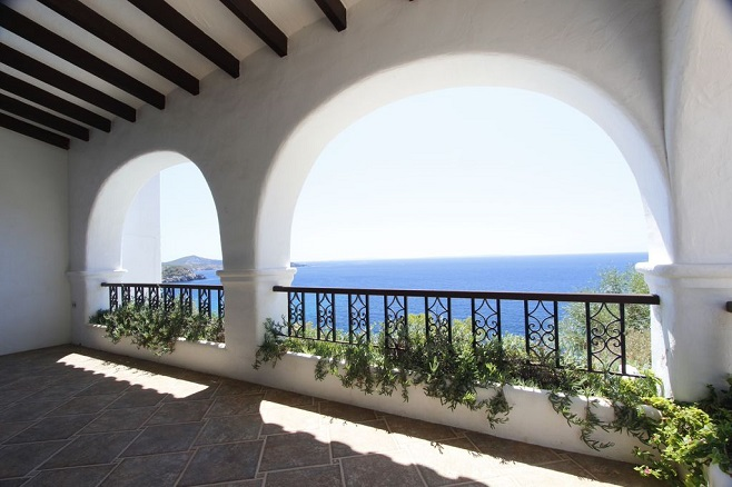 View from a balcony of a villa with view of the sea