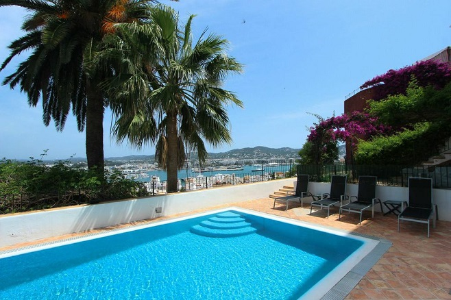 Terrace of a villa on Ibiza with a view over the sea