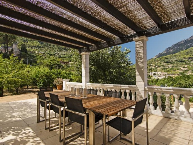 Covered terrace of a villa in Soller