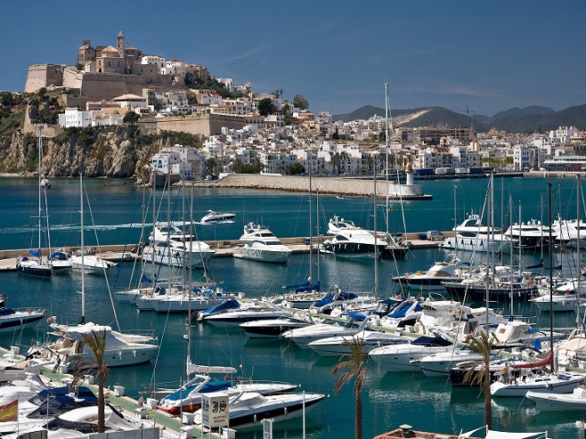 View over the port of Ibiza and high quality properties
