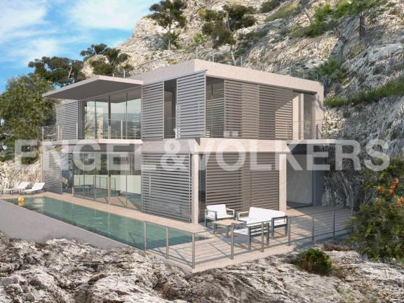 Front view of a modern villa with panoramic views (Pollensa)