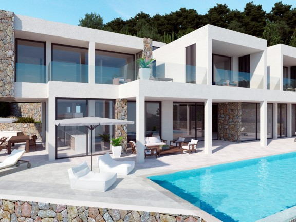 Front view of a villa made of modern and Mediterranean materials (Son Vida)